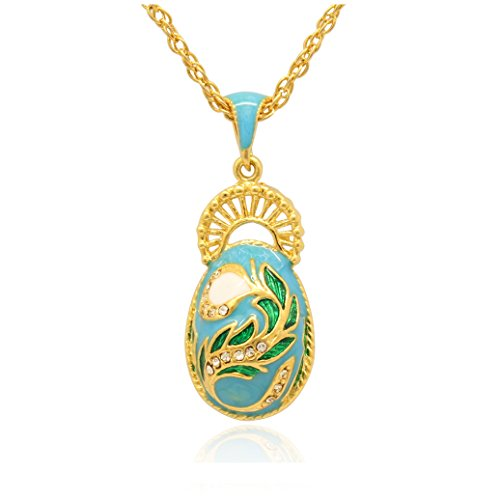 MYD Jewelry Color Enameled Woman Peacock Tail Faberge Egg Pendants Necklaces (Blue 2)