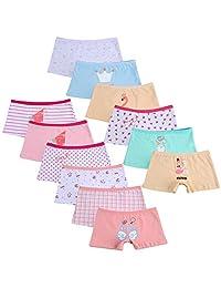 Closecret Kids Girls' Cotton Boyshort Panties Little Baby Assorted Underwear(Pack of 12)