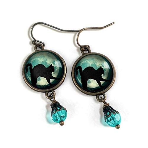 Black Cat on blue moon earrings