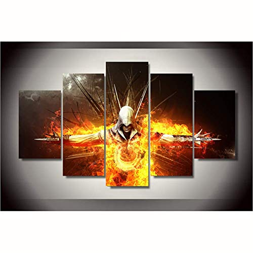 QJXX Paintings On Canvas Witcher 3 Comics Framed 5 Pcs Wall Pictures for Living Room Wall Art Modular Pictures,2,A