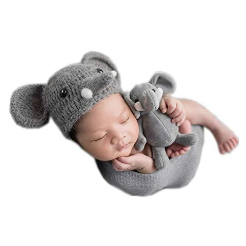 Newborn Infant Baby Photography Props Boys Girls Elephant Hat Handmade Photo Shoot Headdress Grey]()
