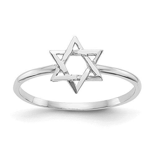Mia Diamonds 14k Solid White Gold Polished Star Of David Ring