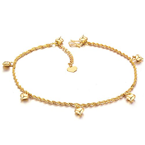 Star Jewelry 18k Gold Plated Copper Women Anklet Bracelet Chain Lantern/Heart/Bells Pendant Adjustable