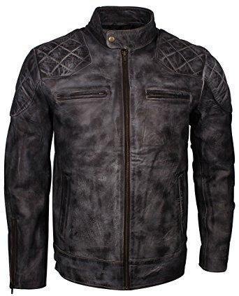 LEATHERINO Men's Leather Jacket Original Motorcycle Black Leather Bomber Jacket - Black Fly Sunglasses Stores