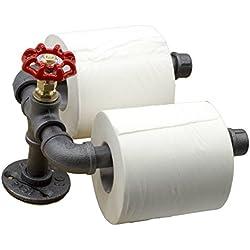 Y-Nut Industrial Vintage Toilet Paper Holder, Steampunk Toilet Paper Dispenser TPD-002 (Black)