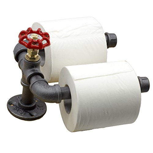 [Y-Nut Industrial Vintage Toilet Paper Holder, Steampunk Toilet Paper Dispenser TPD-002 (Black)] (Loft Toilet Roll Holder)
