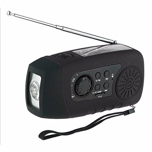 Hitommy N29TF Portable Hand Crank Generator Solar Dynamo FM AM Radio Flashlight MP3 Player - Black