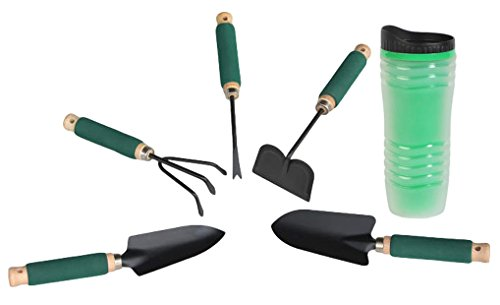Grip Hoe - Mini Garden Tool Set Wood Handle with Foam Grip Bundle of 6 Items: Trowel, Transplanter, Cultivator, Weeder, Hoe, Insulated Mug