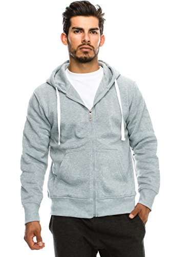 JC DISTRO Mens Hipster Hip Hop Claasic Basic Unisex Zip-Up Hoodie Jacket Hgray 2XLARGE by JC DISTRO