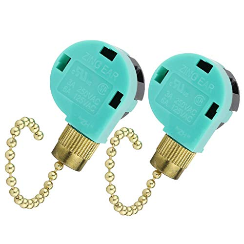 2 Pack Ceiling Fan Switch 3 Speed 4 Wire, ZE-268S6 Pull Chain Control Fan Switch for Zing Ear Ceiling Fan, Appliances, Wall Lamps, Cabinet Light -  YUEFANYAO