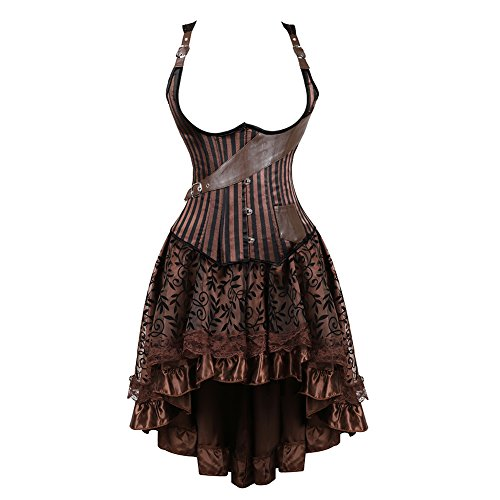 frawirshau Corset Dress Women's Steampunk Clothing Vintage Halloween Costume Gothic Corset Skirt Set Brown 2XL