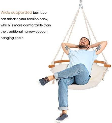 Zupapa Large Hammock Chair Hanging Chair Swing with Heavy Duty Hanging Hardware Kit, Indoor Macrame Swing Chairs for Bedrooms