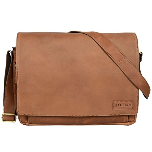 STILORD 'Rick' Borsa Vintage a tracolla in pelle da uomo & donna Porta documenti PC 15.6' Messenger per Università e Ufficio vera pelle, Colore:cognac lucente sella - marrone