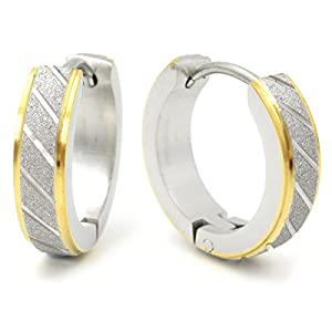 Stainless Steel Mens Hoop Earrings Stripe Bevel Edge Black Gold Color 16mm