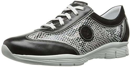 Mephisto Womens Yael Oxford Black Smooth/Light Grey Boa/Silver Pearl