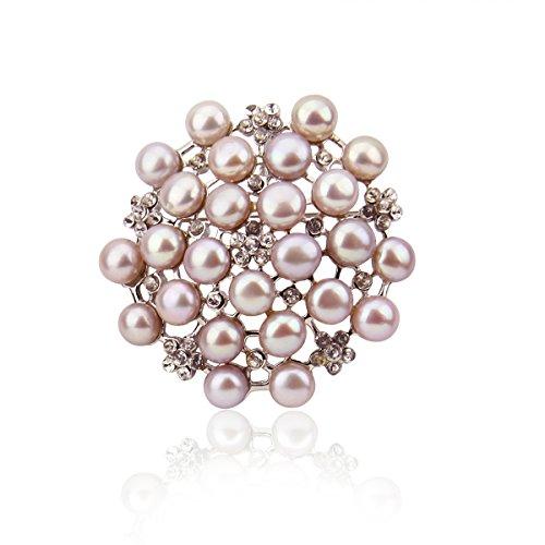 pearlpro Femme Lavande Perle Broche Strass
