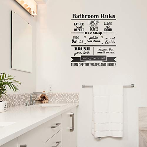 Vinyl Wall Art Decal - Bathroom Rules Close The Door Put The Seat Down Wash Your Hands Turn Off The Water and The Lights - 23