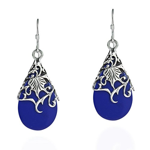 (Floral Vine Ornate Teardrop Simulated Blue Lapis-Lazuli .925 Sterling Silver Dangle Earrings)