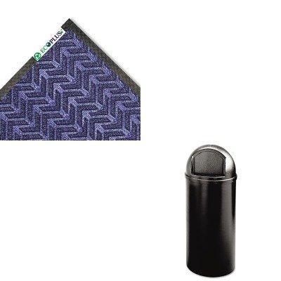 KITCWNECR046MBRCP816088BK - Value Kit - Crown Mats ECR46MBL ECO-PLUS Floor Mat, 45 x 70, Midnight Blue (CWNECR046MB) and Rubbermaid-Black Marshal Fire Resistant Plastic Containers 15 Gallon (RCP816088BK)
