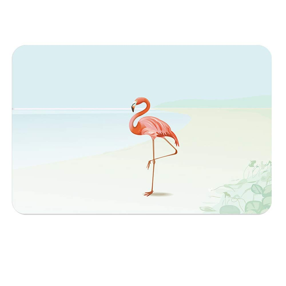 TOMSSL Natural Diatomaceous Earth Bath Mat Flamingo Pattern Water Absorption and Quick-Drying Does Not Fade Furniture Versatile Brushed Surface Mat (Size : 3040)