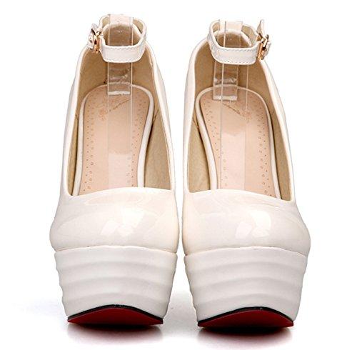 Aiguille Mariage Sexy Soirée Plateforme Chaussures Blanche Talon Vernis Haut OALEEN Femme Escarpins Cheville Bride Élégante Pn8vvq7wt