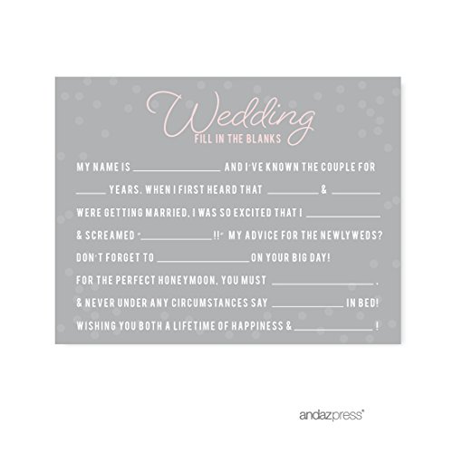 Andaz Press Pink Blush and Gray Pop Fizz Clink Wedding Collection, Wedding Reception Fill in the Blanks Game Cards, -