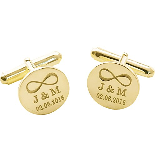 Personalized 925 Sterling Silver Wedding Infinity Cufflinks Gift for Men Custom Made with Any Initial (Gold)