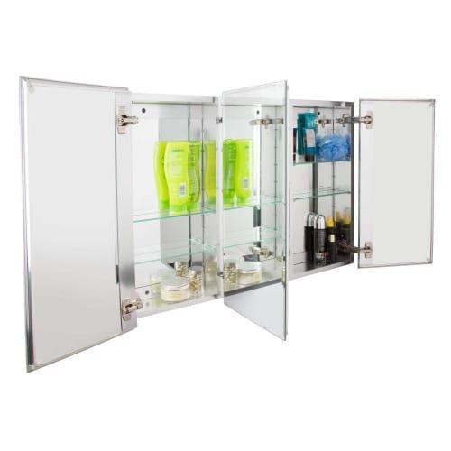Jacuzzi PD48000 26'' H x 36'' W x 5-1/4'' D Triple Door Medicine Cabinet, Silver Aluminum
