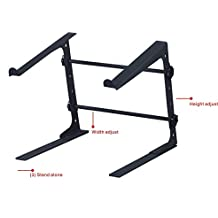 DJ Laptop Stand - Attachable With Clamps, Adjustable Shelf, Easy To Carry, Three Different Assembly Options, Lightweight & Durable, For Performance Venues & Mobile DJs, GMI Pro