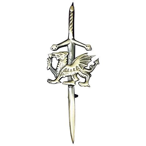 (TC Scottish Kilt Pin Sword Antique Finish Celtic Welsh Dragon Kilt Pin)