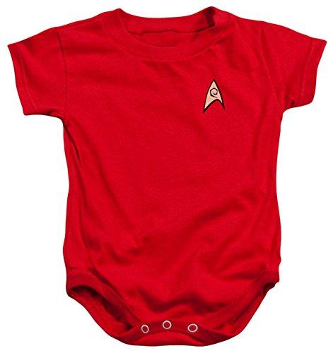 [Infant: Star Trek - Enfineering Uniform Infant Onesie Size 6 Mos] (Red Star Trek Dress)