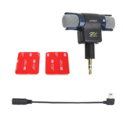 Mini Stereo Mic Mikrofon mit 3,5mm Klinke für GoPro Hero PC Laptop Handy Smartphone MD-Recorder Aufnahmegerät VoIP MSN Skype
