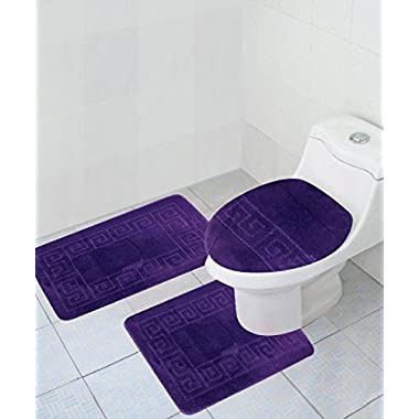 3 Piece Bath Rug Set Pattern Bathroom Rug (20 x32 )/large Contour Mat (20 x20 ) with Lid Cover (Purple)