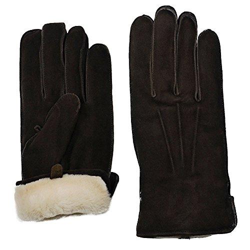 (GRANDOE Men's OAKBROOK Genuine SUEDE Leather Glove with Real SHEARLING FUR Cuff (Brown, Medium) )