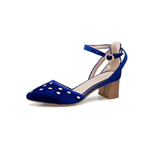 AdeeSu Womens Sandals Closed-Toe Buckle Chain-Strap Low-Heel Manmade Cold Lining Road Manmade Nubuck Urethane Sandals SLC03478 Blue