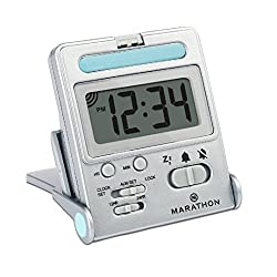 MARATHON CL030010TI Travel Alarm Clock with Calendar & Temperature, Battery Included, Titanium