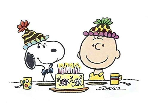Peanuts Happy Birthday Charlie Brown Snoopy Cake Party Hats Edible Cake Topper Image ABPID08067 - 1/8 -