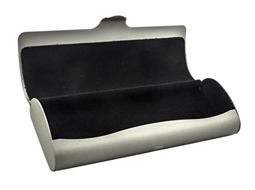 Slim-Line Aluminium Glasses Case with Snap Lock in Various Colours and Sizes (Large: metallic beige)