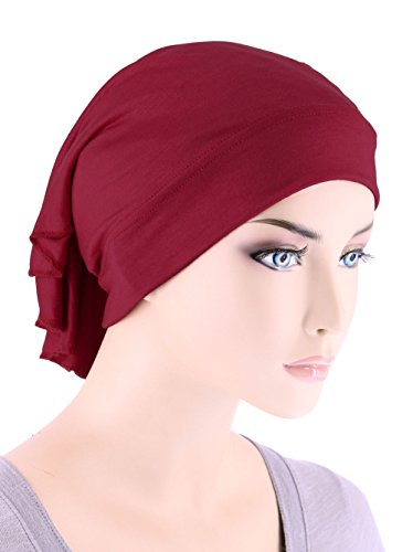 Womens Ruffle Chemo Hat Beanie Scarf, Turban Head Wrap For Cancer Burgundy Red