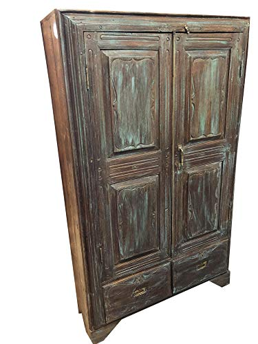 Antique Armoire Rustic Distressed Blue Indian Cabinet Reclaimed Teak Wood British Indian Armoire