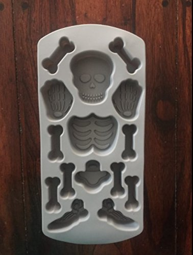 Skull Cupcake Pan - Skeleton Skulls and bones Silicone Pan Candy Chocolate Halloween Mold Ice Tray