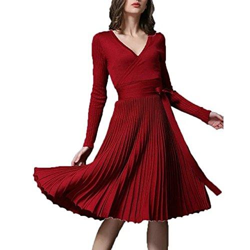 V Sottile A tm Scollo Womens Bettergirl Tratto Lunga Vestito Maglia Midi Elegante Manica Vino 6OI1qwg