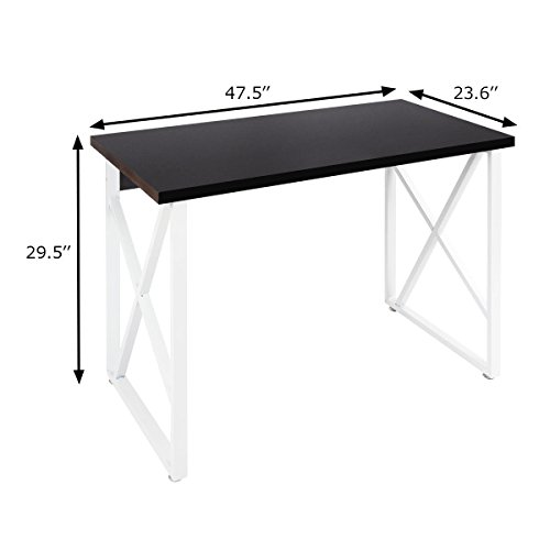 Tangkula Computer Desk PC Laptop Home Office Modern Simple Style Wood Study Workstation Writing Table Wooden Furniture Set(Black Desktop with White Legs)