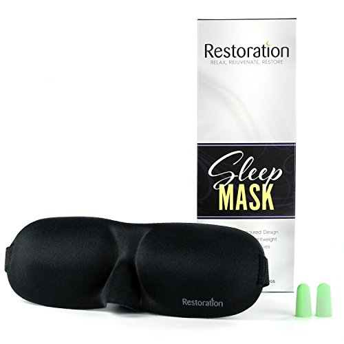 Sleep Restoration® Lightweight & Comfortable Contoured Sleep Mask Including Moldex® Ear Plugs – The Perfect Eye Mask for Bedtime, Meditation, Napping & - Restoration Plug
