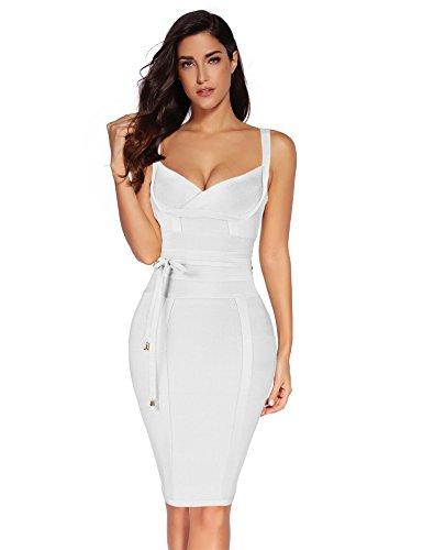 Meilun Womens Rayon Belt Detail Bandage Bodycon Party Dress (S, White)