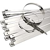 100Pcs Cable Zip Ties Stainless Steel 250 x 4.6mm Cable Management Organizer Disposable Exhaust Wrap Coated Locking