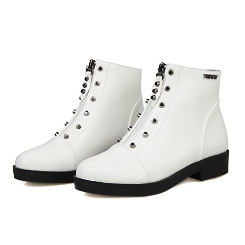 Round Toe Boots Low Material Women's Zipper Low Heels AgooLar Soft White Top Closed PqvW8