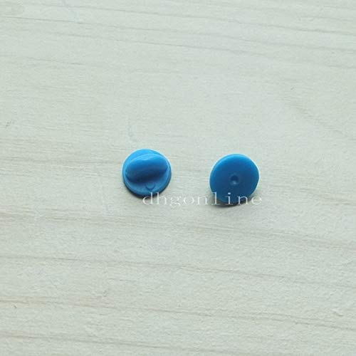 (Pukido 100 Pcs Rubber Lapel Hat Tie Tac Tack Pin Back Holder Clasp for Sport Pad Jewelry Craft - (Color: Blue) )