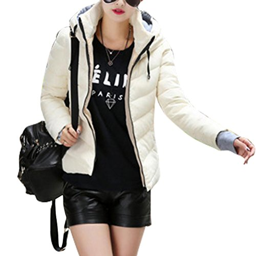 Women Jacket Down Quilted Jacket Oudan Beige Down Short Jacket Hooded Jacket 6d71wRqPw