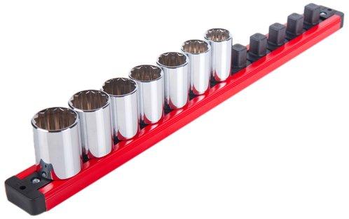 Torin Big Red Tool Organizer: Magnetic Locking Socket Rack, 1/2